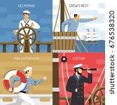 sail ship crew members at work...