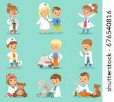 Cute Kids Playing Doctor Set....
