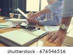 business team meeting present... | Shutterstock . vector #676546516