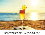 the frozen glass of cocktail on ... | Shutterstock . vector #676553764