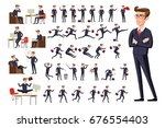 flat manager office workplace.... | Shutterstock .eps vector #676554403