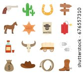 wild west. icon set. american... | Shutterstock .eps vector #676557310