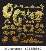 vector royal wedding vignettes... | Shutterstock .eps vector #676558960
