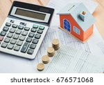 house model and coin on bank... | Shutterstock . vector #676571068