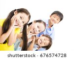 happy and laughing small kids... | Shutterstock . vector #676574728