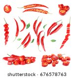 collage of chili peppers on... | Shutterstock . vector #676578763
