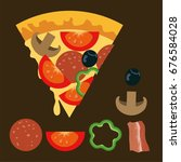 italian pizza and  ingredients. ... | Shutterstock .eps vector #676584028