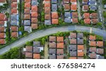 view from above of home village ... | Shutterstock . vector #676584274