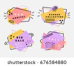 retro flat banners | Shutterstock .eps vector #676584880