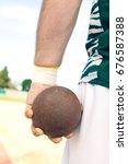 male shot putter holding shot ...   Shutterstock . vector #676587388