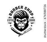barber ape illustration logo... | Shutterstock .eps vector #676588726