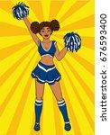 cheerleader pop art. black girl ... | Shutterstock .eps vector #676593400