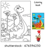 funny red dinosaur. coloring... | Shutterstock .eps vector #676596250