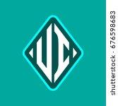 colored monogram logo curved...