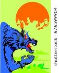 halloween werewolf in greenfield   Shutterstock .eps vector #676599904