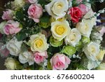 a bouquet of colorful roses for ... | Shutterstock . vector #676600204