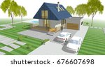 architectural sketch  house  3d