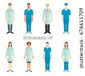 set of doctors in flat style.   Shutterstock .eps vector #676611709