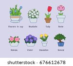 cute flowers in pots collection | Shutterstock .eps vector #676612678
