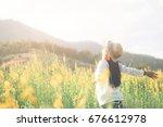 female teen girl stand feel... | Shutterstock . vector #676612978