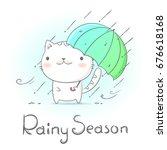 cat under umbrella and raining...   Shutterstock .eps vector #676618168