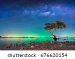 the milky way over big tree in... | Shutterstock . vector #676620154