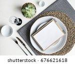 table setting. white dishware ... | Shutterstock . vector #676621618