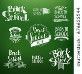 back to school calligraphic... | Shutterstock .eps vector #676623544
