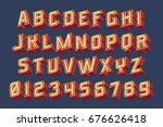 3d vintage letters with neon...   Shutterstock .eps vector #676626418