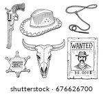 wild west  rodeo show  cowboy... | Shutterstock .eps vector #676626700