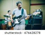 behind the scene. rock band... | Shutterstock . vector #676628278