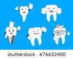 set of cute cartoon tooth... | Shutterstock .eps vector #676632400