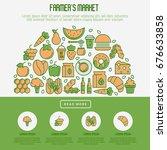 farmer's market concept in... | Shutterstock .eps vector #676633858