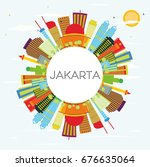 jakarta skyline with color... | Shutterstock .eps vector #676635064