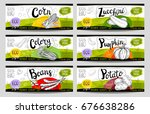 set of colorful stickers in... | Shutterstock .eps vector #676638286