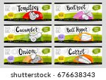 set of colorful stickers in... | Shutterstock .eps vector #676638343