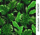 tropical palm leaves background.... | Shutterstock .eps vector #676642369