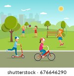 children playing games and... | Shutterstock .eps vector #676646290