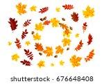 frame of yellow maple leaves ... | Shutterstock . vector #676648408