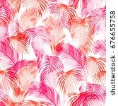 tropical watercolor pattern.... | Shutterstock . vector #676655758