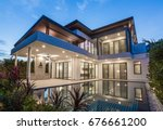 modern luxury villa with... | Shutterstock . vector #676661200