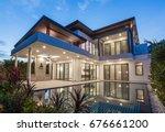 modern luxury villa with... | Shutterstock . vector #676661200