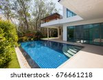 modern luxury villa with... | Shutterstock . vector #676661218