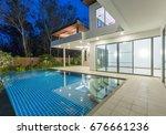 modern luxury villa with... | Shutterstock . vector #676661236