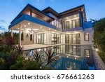 modern luxury villa with... | Shutterstock . vector #676661263