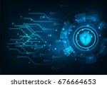 cyber security concept  padlock ... | Shutterstock .eps vector #676664653
