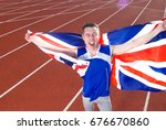 athlete holding flag | Shutterstock . vector #676670860