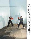 two men sparing | Shutterstock . vector #676671199