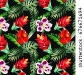 colorful flowers pattern... | Shutterstock . vector #676671694