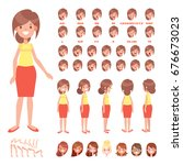 front  side  back view animated ... | Shutterstock .eps vector #676673023